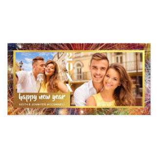 Happy New Year, Colorful Fireworks, Two Photos Card