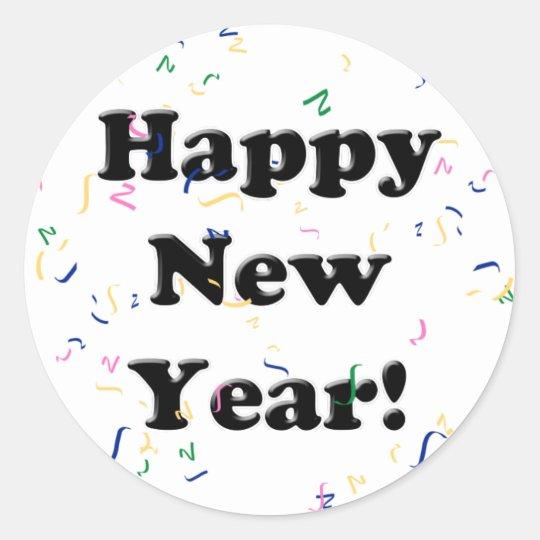 Happy New Year! Confetti Classic Round Sticker
