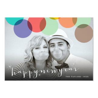 Happy New Year Confetti Dots Holiday Photo Card 13 Cm X 18 Cm Invitation Card