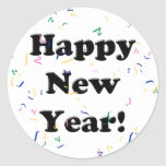 Happy New Year! Confetti Round Stickers