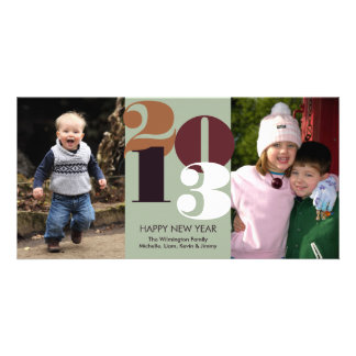 Happy new year count down brown funky greeting personalized photo card