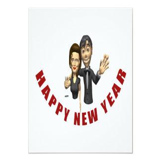 Happy New Year Couple 13 Cm X 18 Cm Invitation Card
