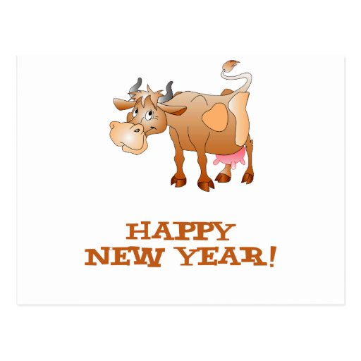 Happy New Year Cow Postcards