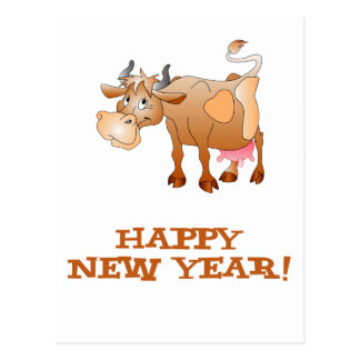 Happy New Year Cow Postcard