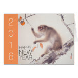 Happy New Year Custom 2016 Japanese Painting Greeting Card