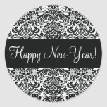 Happy New Year Damask Envelope Sticker Seal