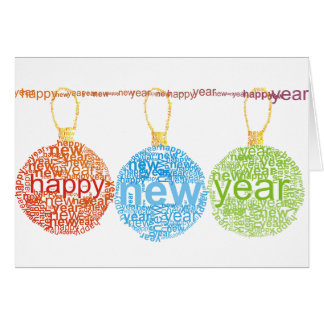 Happy New Year Decorations Note Cards