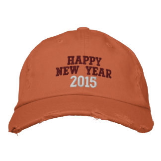 HAPPY NEW YEAR DISTRESSED CHINO TWILL CAP EMBROIDERED HAT