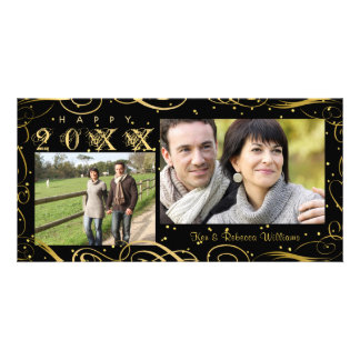 Happy New Year, Elegant Black and Gold Scroll Card