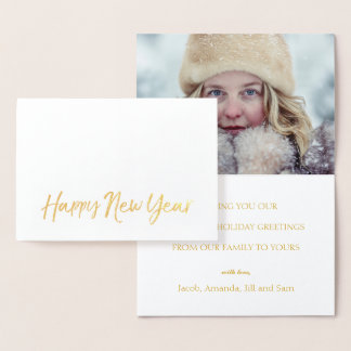 HAPPY NEW YEAR Elegant Script Holiday Photo Gold Foil Card