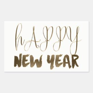 Happy New Year Elegant Text Gold Typography Rectangular Sticker