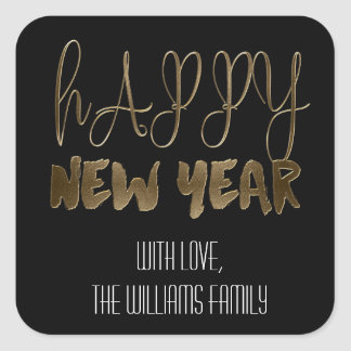 Happy New Year Elegant Text Gold Typography Square Sticker