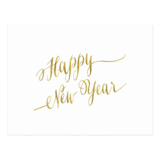 Happy New Year Faux Gold Foil Greeting Postcard