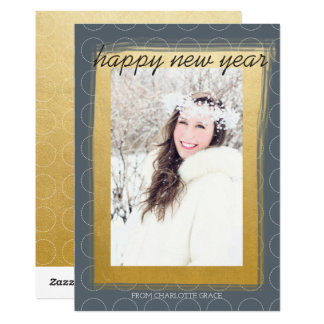 Happy New Year Faux Gold Personalized 13 Cm X 18 Cm Invitation Card