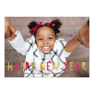 Happy New Year Faux Gold Red | New Year Photo Card 13 Cm X 18 Cm Invitation Card