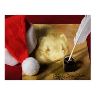 Happy New Year Ferret Post Card
