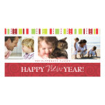 Happy New Year Festive Swirl Photo Collage in Red Picture Card