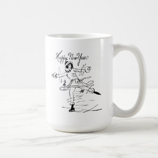 Happy New Year Figure Skater Coffee Mugs