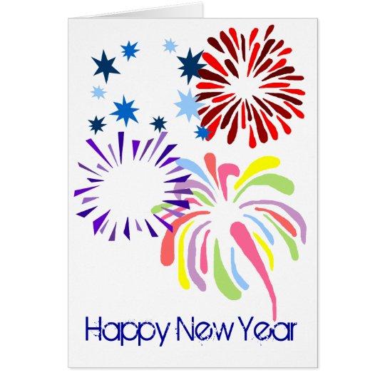 Happy New Year fireworks blank card