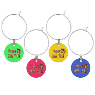Happy New Year Fireworks Coloured Wine Charms