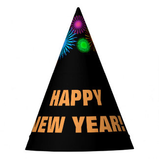 """HAPPY NEW YEAR!"" + Fireworks-like Pattern Party Hat"