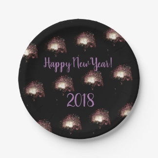 Happy New Year Fireworks Paper Plate