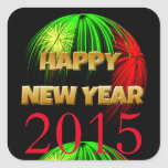 Happy New Year Fireworks Square Stickers