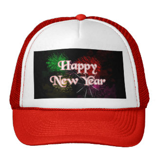 Happy New Year Fireworks Trucker Hat