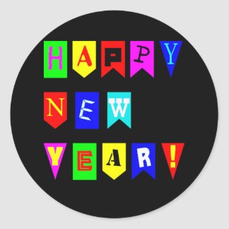 Happy New Year Flags Round Sticker