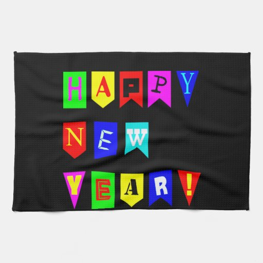 Happy New Year Flags Kitchen Towels