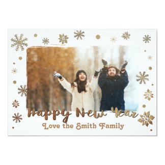 Happy New Year foil snowflakes Card