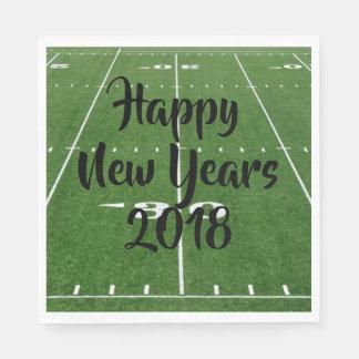 Happy New Year Football Field Disposable Serviette