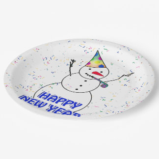 Happy New Year from the Celebrating Snowman 9 Inch Paper Plate