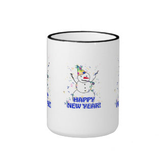 Happy New Year from the Celebrating Snowman Coffee Mugs