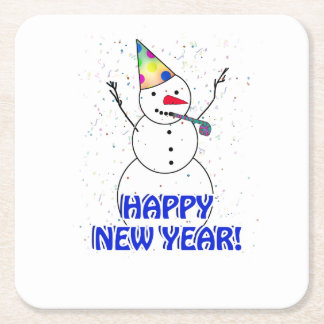 Happy New Year from the Celebrating Snowman Square Paper Coaster