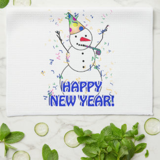 Happy New Year from the Celebrating Snowman Tea Towel