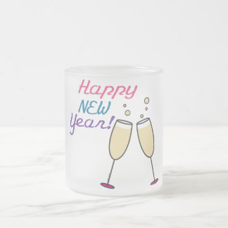 Happy New Year Frosted Glass Mug