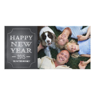 Happy New Year Fun Black Chalkboard Photo Card