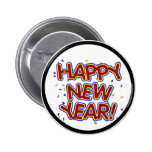 Happy New Year - Fun Red Text With Confetti 6 Cm Round Badge