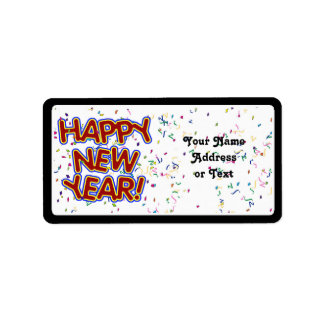 Happy New Year - Fun Red Text With Confetti Address Label