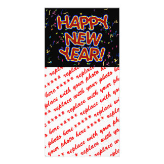 Happy New Year - Fun Red Text With Confetti Photo Cards