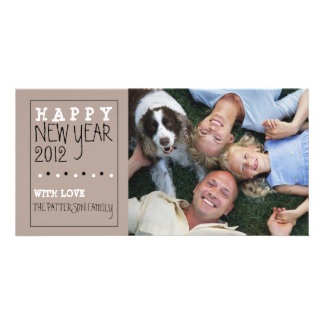 Happy New Year Fun Sketch Tan Black White Picture Card