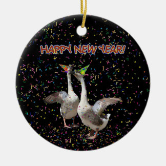 Happy New Year Geese Christmas Ornament