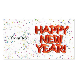 Happy New Year Glassy Red Text Business Card