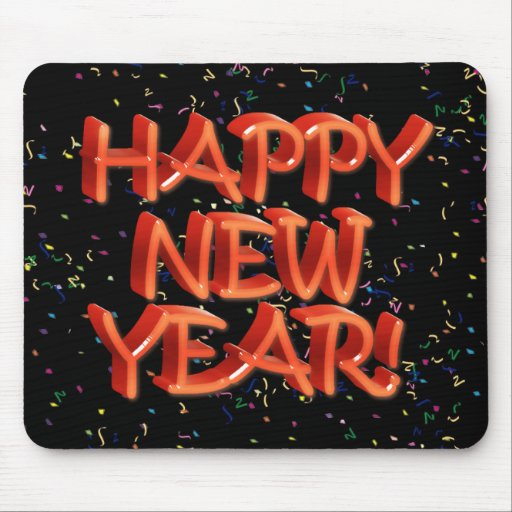Happy New Year Glassy Red Text Mouse Pad