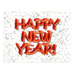 Happy New Year Glassy Red Text Post Cards