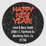 Happy New Year Glassy Red Text Round Stickers