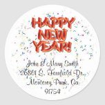 Happy New Year Glassy Red Text Stickers