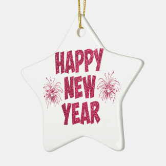 Happy New Year Glitter Christmas Ornament