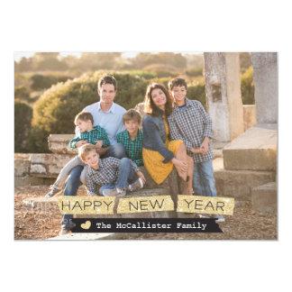 Happy New Year Glitter Holiday Photo Card 13 Cm X 18 Cm Invitation Card